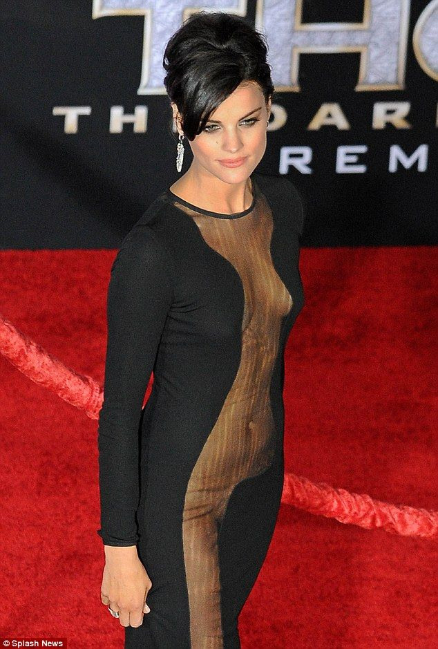 Risky dress: Jaimie Alexander certainly made the red carpet more interesting in her revealing black dress