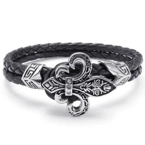 leather, stainless steel, crystal Flur de Lis bracelet by Commanders Closet http://www.commanderscloset.com/