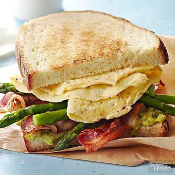 Hard-cook the eggs and steam the asparagus in advance to speed up your morning mealtime.