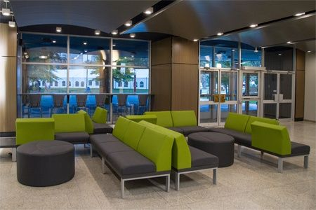 Lounge space at McMaster University with Lancelot and Element seating by Artopex.
