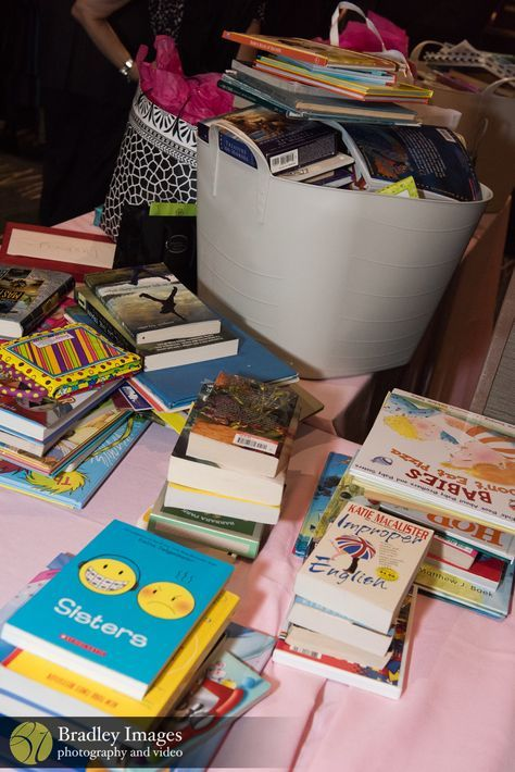 Book donations Mitzvah project at Lindsey's pink book themed Bat Mitzvah party at DoubleTree Bethesda | Pop Color Events | Adding a Pop of Color to Bar & Bat Mitzvahs in DC, MD & VA | Photo by Bradley Images