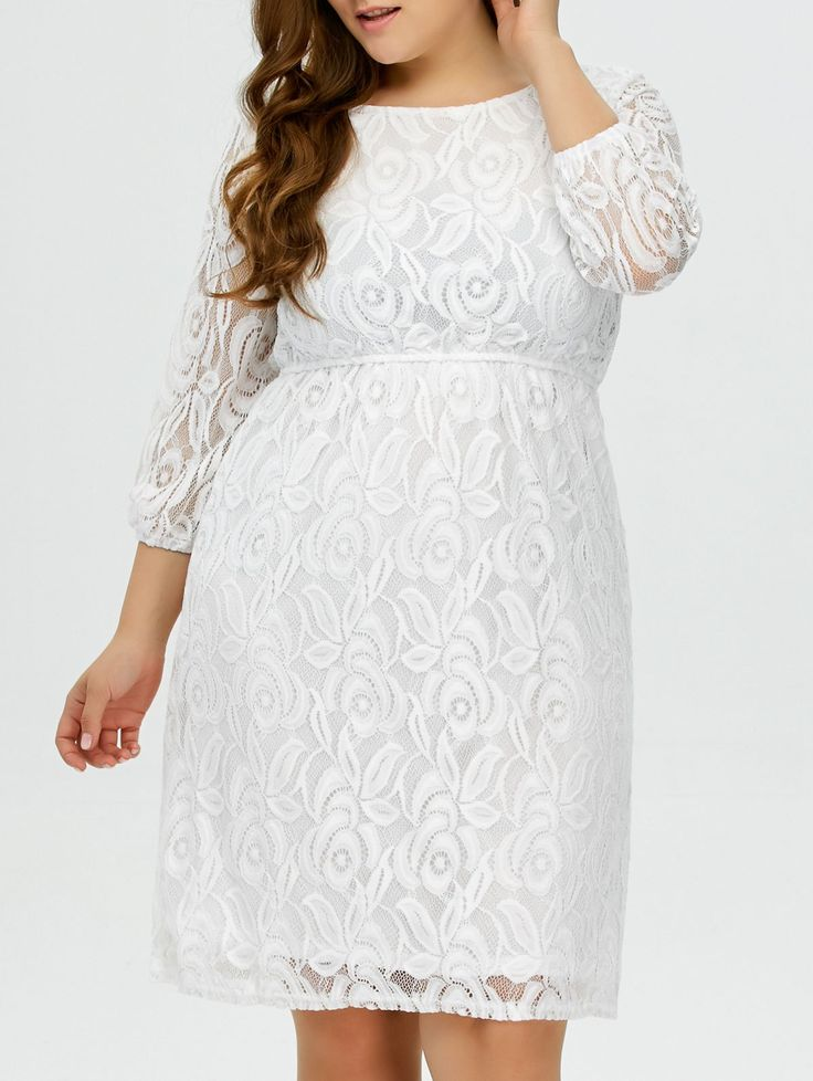Plus Size Lace Empire Waist Dress in White | Sammydress.com