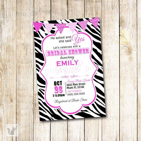 Zebra Bridal Shower Invitation Card - Modern Wedding Shower Invite Printable Personalized Sweet 16 Quinceanera Hot Pink