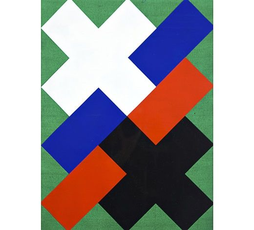 Paul Osipow: Composition with Crosses, 1989, acrylic on paper,  66 x 49 cm