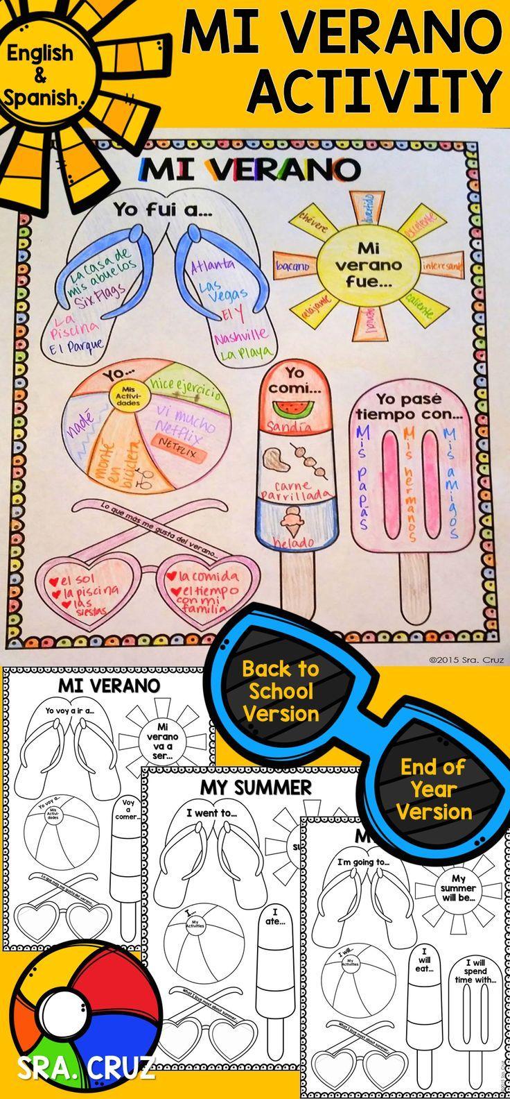 My summer activity in spanish and english spanish