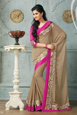 Georgette dyed saree and kotting work and embroidery border and dupion border