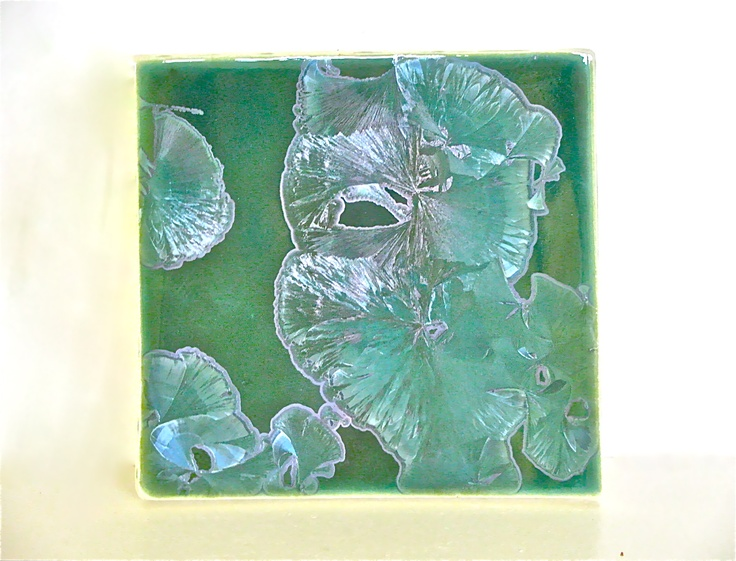 "This is a 6"" green crystalline tile."
