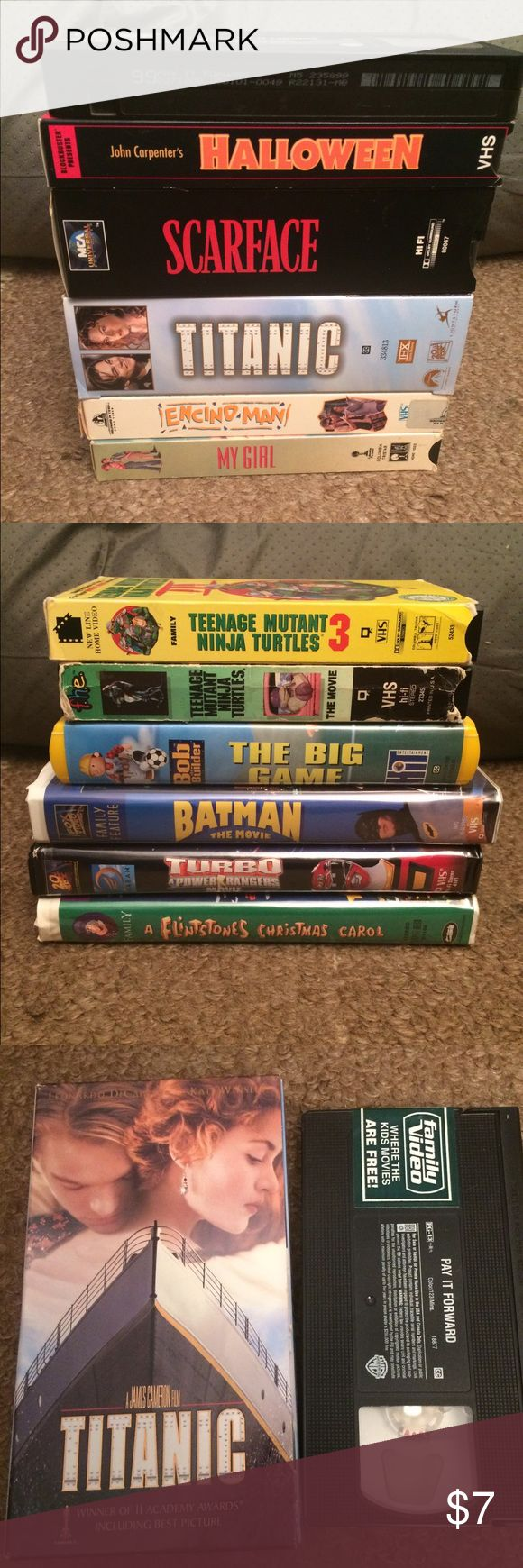 12 VHS Bundle Ninja turtles, batman, scarface, etc All working condition some watched once, price includes all 12 tapes, teenage mutant ninja turtles movie 1 and 3, batman the movie, the flintstones a Christmas carol, bob the builder, the power rangers movie, scarface, titanic, my girl, Encino man, pay it forward, and john carpenters Halloween Batman Other
