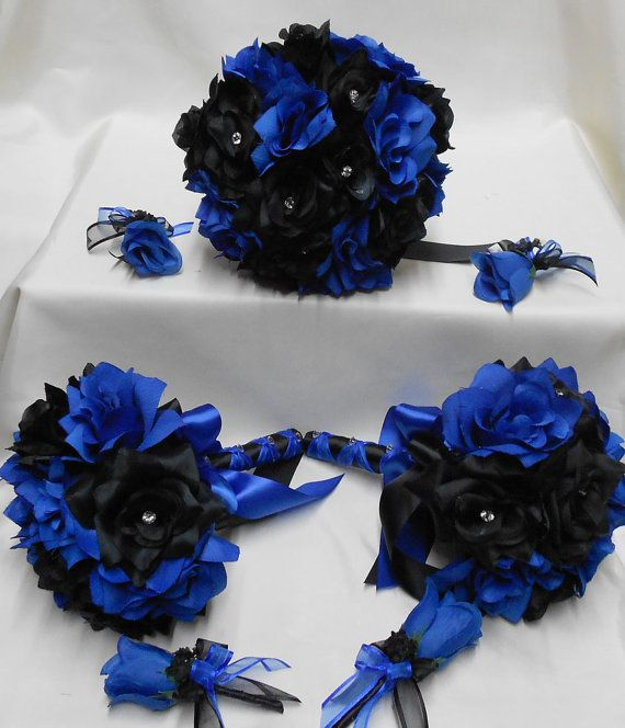 Wedding Silk Flower Bridal Bouquets Your Colors 18 pcs ...