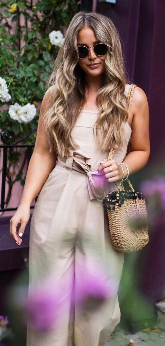 #fall #outfits Beige Jumpsuit + Mini Tote Bag