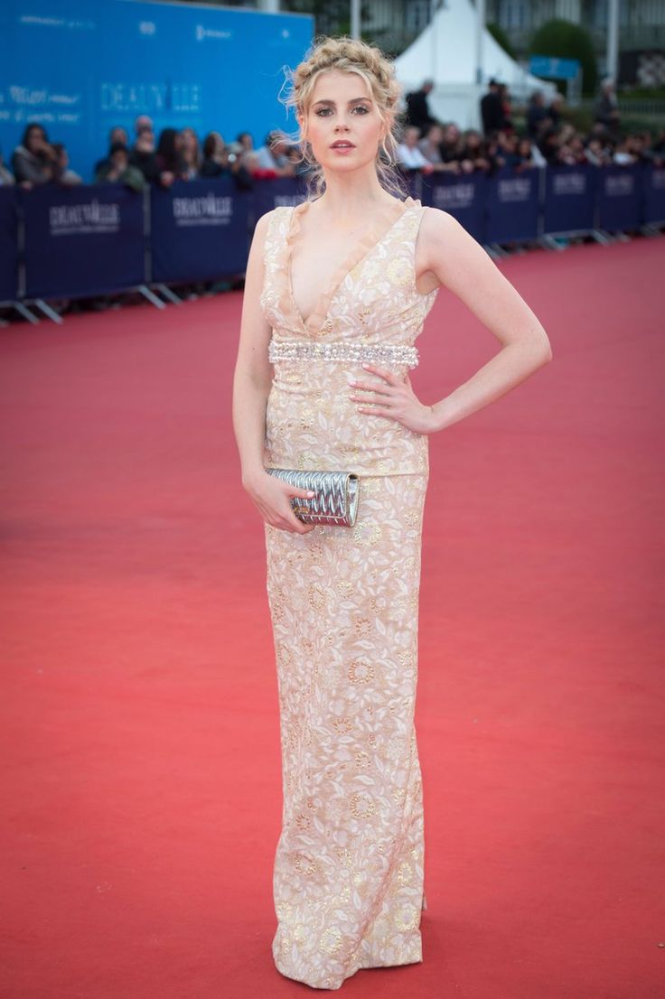 Lucy Boynton in Miu Miu at the 'In Dubious Battle' premiere during the 42nd Deauville American Film Festival 2016