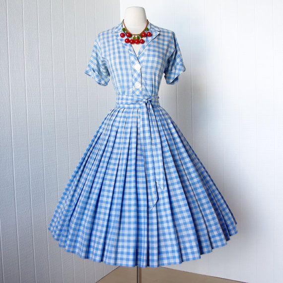 Blue Gingham Dress - Qi Dress
