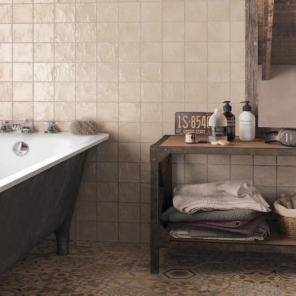 Vintage Clay Wall Tiles 10x10cm Metro Tiles Trendy Bathroom Tiles Tile Bathroom Wall Tiles