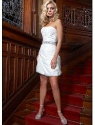 Taffeta Strapless Softly Curved Neckline Ruffled Bodice Mini Wedding Dress