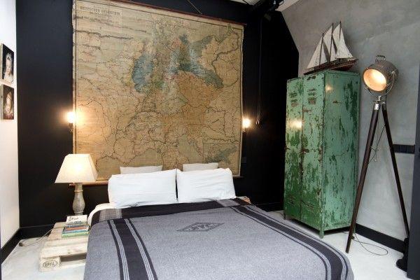 Black wall - vintage world map - bedroom - James van der Velden loft