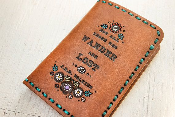 Leather Passport Wallet  Floral Design  J.R.R. by MesaDreams