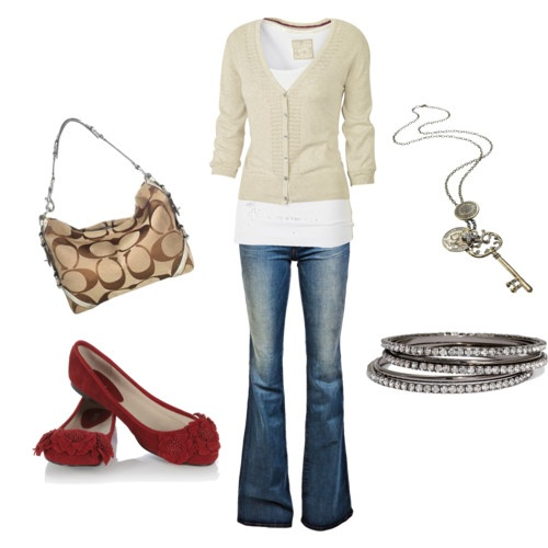 Love the outfit & jewlery: Cardigans, Coach Bags, Red Flats, Red Shoes, Clothing, Coach Purses, Jeans, Casual Outfits, Casual Looks