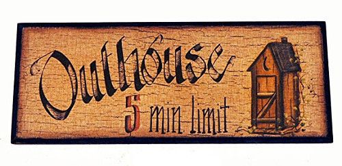 New Counry Primitive Rustic Bathroom OUTHOUSE 5 MINUTE LIMIT Sign Plaque Picture