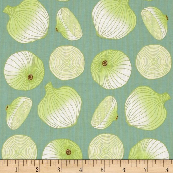 Lush Harvest Onions Green from @fabricdotcom  Designed by Laura Foster Nicholson for Troy Fabrics, this cotton print is perfect for quilting and crafts.  Colors include white, dusty aqua and shades of green.