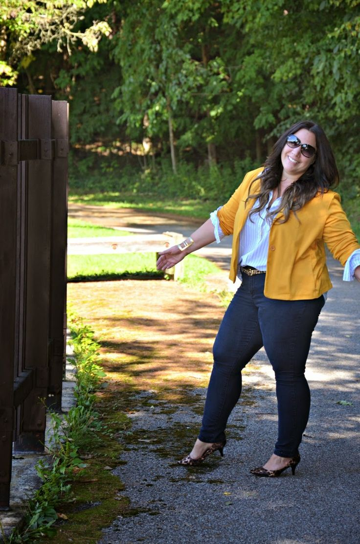 Full Figured and Fashionable Mustard and Navy outfit (Sep. 2014 blogpost)