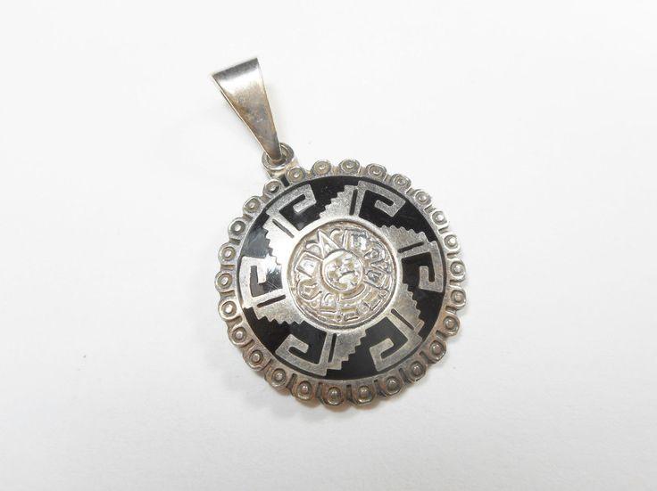 Taxco TC-271 925 Sterling Silver Black Enamel Mayan Aztec Pendant Mexico #2573