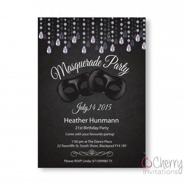Classic Masquerade Themed Single Sided Personalised Birthday Invitations - From as little as £0.41 per card - Including free envelopes and delivery on all orders!