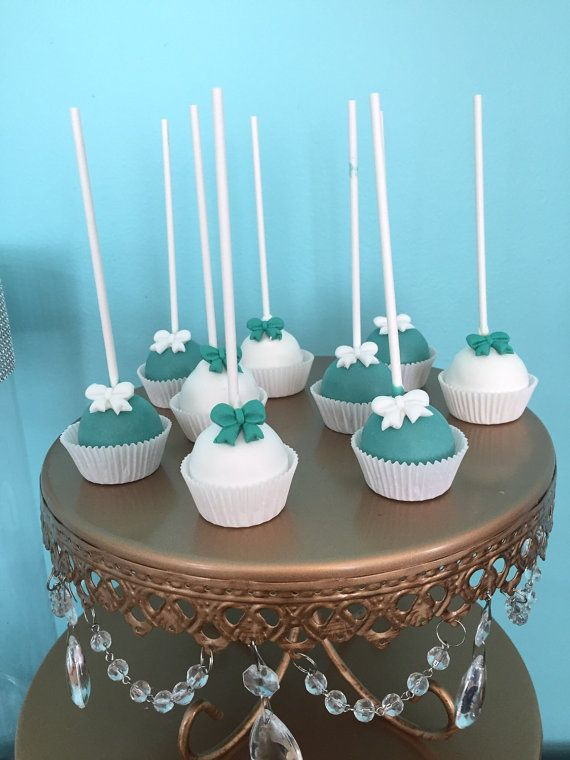 Turquoise and White Bow Cake Pops