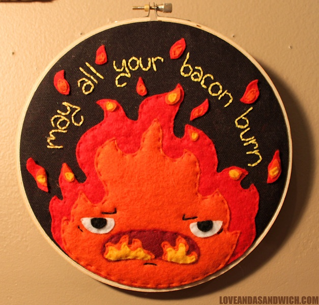 Calcifer (Howls Moving Castle) felt embroidery hoop by loveandasandwich.