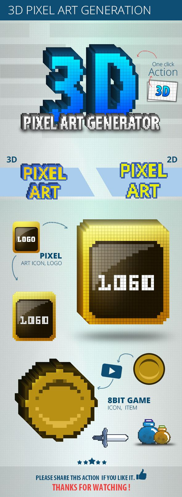 Dazzling  3D Pixel Art Generation  • Only available here ➝ http://graphicriver.net/item/3d-pixel-art-generation/6944066?ref=pxcr