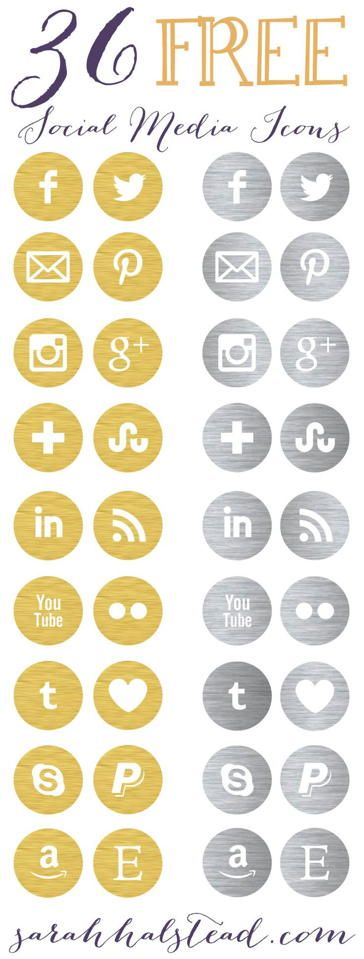 Free Social Media Icons for your blog | Gold & Silver | by Sarah Halstead                                                                                                                                                                                 More