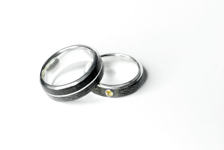for mj and ma - wedding bands. sterling silver, wenge, ebony, citrine. Jade Pauzé, 2016.