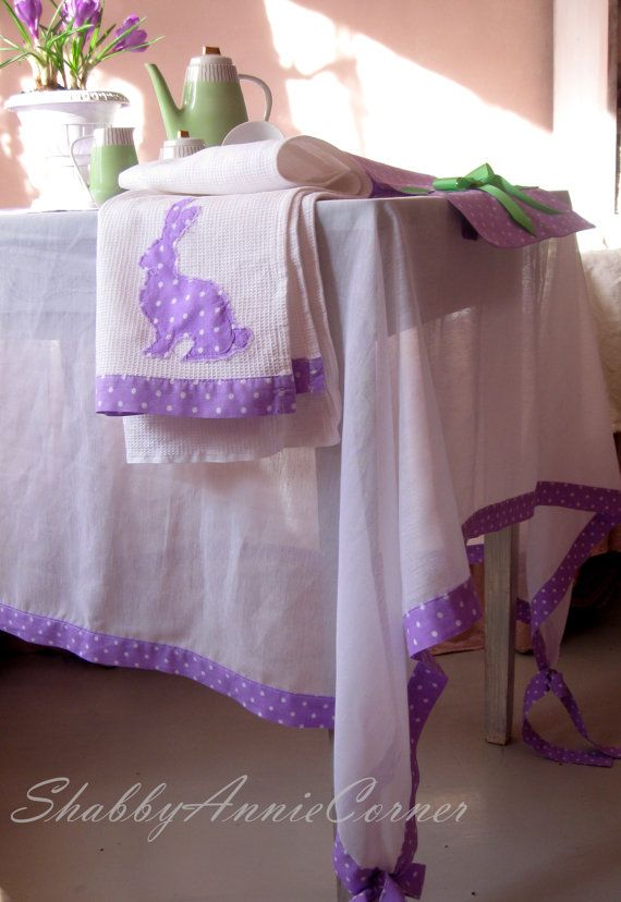 Rectangle tablecloth White purple French country home Sheer tablecloth, Rabbit Tea towels, Custom tablecloth and Kitchen towel Easter decor