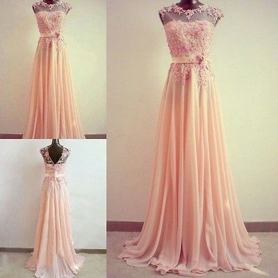 Lace Applique Cap Sleeve Long Formal Evening Cocktail Party Ball Gown Prom Dress