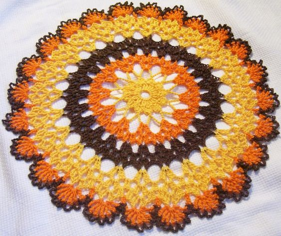 Fall Crochet Patterns : 12 Thanksgiving doily harvest turkey fall autumn crochet thread home ...