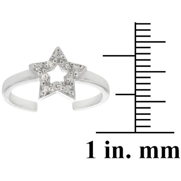 Icz Stonez Sterling Silver CZ Star Toe Ring ($8.90) ❤ liked on Polyvore featuring jewelry, rings, silver, wide sterling silver rings, cz jewellery, star jewelry, sterling silver toe rings and wide rings