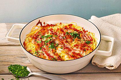 Spaghetti - Auflauf mit Speck, ein sehr schönes Rezept aus der Kategorie Pasta & Nudel. Bewertungen: 243. Durchschnitt: Ø 4,2.