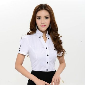 Nueva llegada 2015 primavera verano moda blanco blusas mujeres camisas de manga…