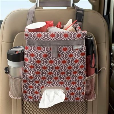 Fully leakproof patterned car trash bag and car seat back organizer has a full sized tissue box holder and two side compartments to keep bottles and containers from tipping or spilling. Durable polyester fabric and fully sealed car trash can.