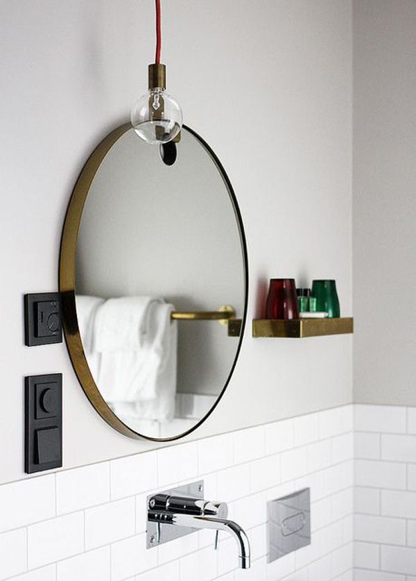 I love the aged brass mirror. You can get the metal paste to make an IKEA mirror look like aged brass.