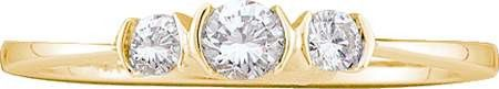 14KT Yellow Gold 0.26CTW DIAMOND 3 STONE LADIES BRIDAL RING