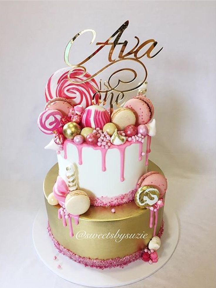 Pink drip girls 1st Birthday Cake made by Sweetsbysuzie