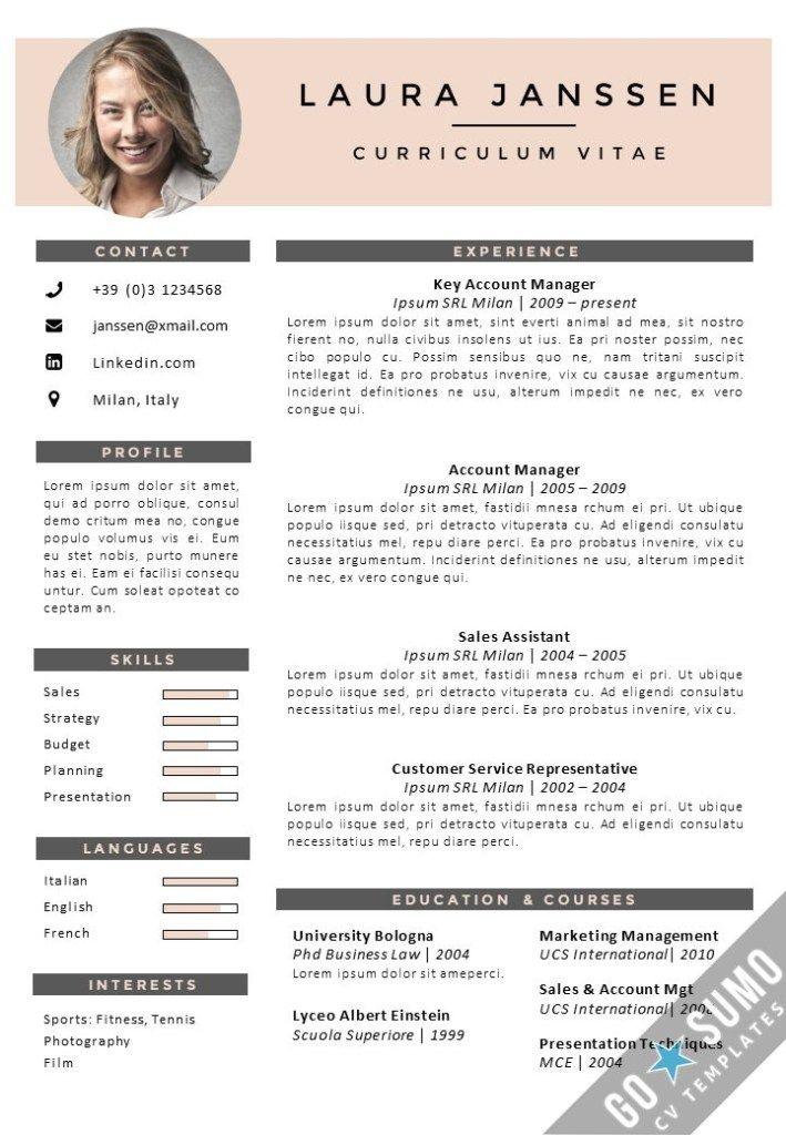 Cv Template Milan Cv Template Creative Cv Template Downloadable Resume Template