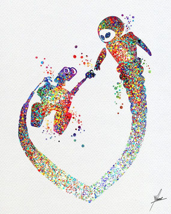 Wall-E and Eve Love Movie Watercolor Art Print by PainterlyDots