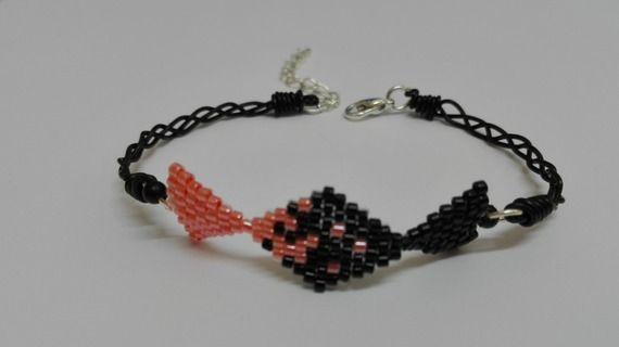 Bracelet argenté -tissage symétrique -perles miyuki