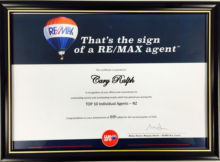 Cary Ralph No-6 for the 2nd quarter of 2016 RE/MAX Top 10 Individual Agents - New Zealand
