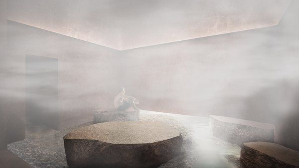 A Proposed Icelandic Resort Celebrates Wellness and its Magical Surroundings - Photo 6 of 18 - The steam room evokes a foggy night.