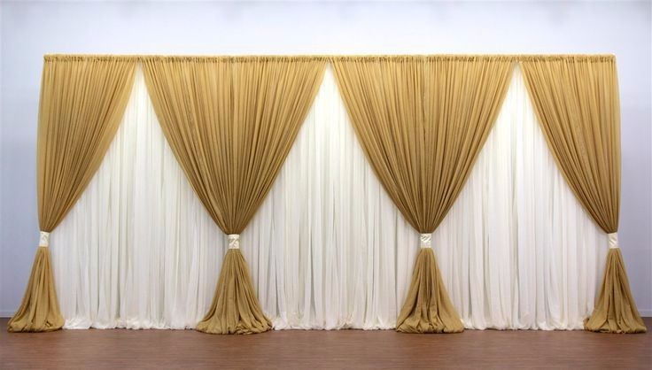 10ft 20ft Gold With White Clear Style Wedding Backdrop Stage
