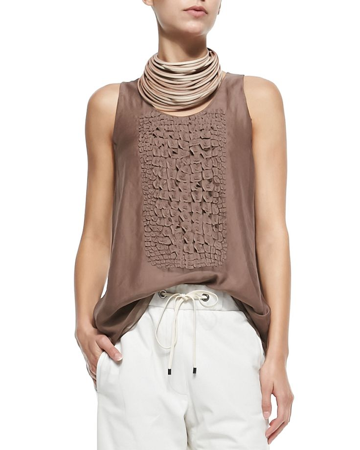 Brunello Cucinelli Multi-Strand Leather Necklace, Clean Canvas Snap-Button Vest, Sleeveless Top W/ Croc Texture & Pull-On Napa Leather Pants