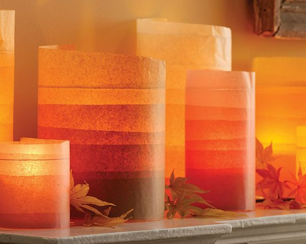 Ombre Fall Decor: Vase, Hurricane Candles, Idea, Fall Decor, Glasses, Color, Candles Holders, Martha Stewart, Tissue Paper