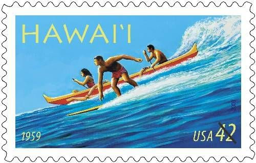 50th Statehood, stamp, Hawaii, surfing, ocean, 1959, outrigger canoe, surf, post office, US mail, nation, state, Hawai'i